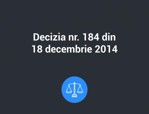 Decizia Nr. 184 din 18 decembrie 2014