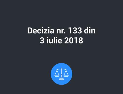 Decizia nr. 133 din 3 iulie 2018 privind aprobarea Procedurii de primire si solutionare a plangerilor